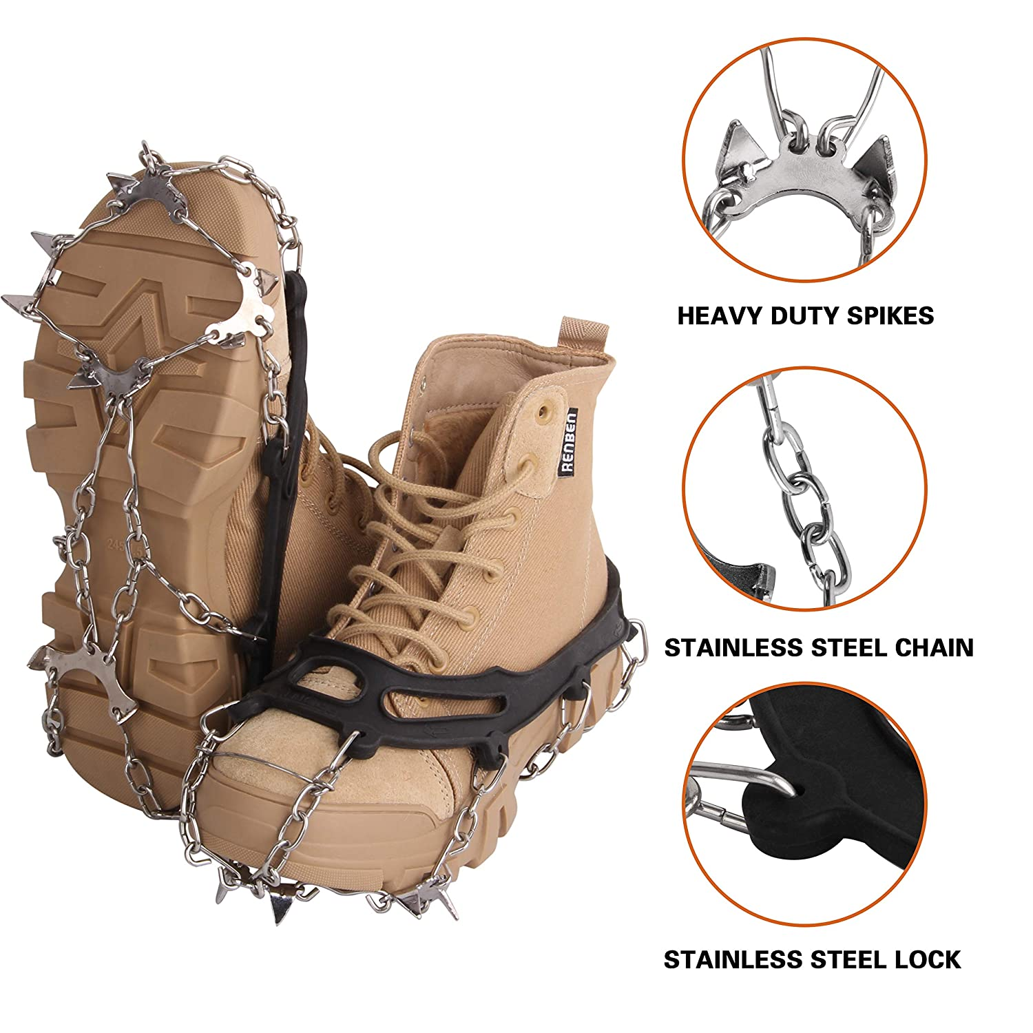 AGOOL Ice Cleat Walk Traction Spikes Crampons Ice Grips Snow Grip Stainless Steel Spikes Durable Silicone Stretch Footwear Anti-Slip for Walking Climbing and Outdoor Activities