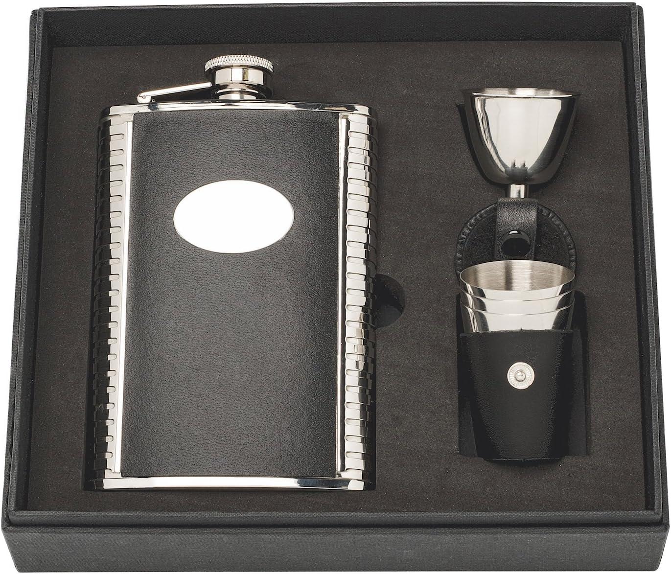 Herbertz Coffret cadeau pour homme avec 3 gobelets et entonnoir en cuir plat Argent/é 237 ml