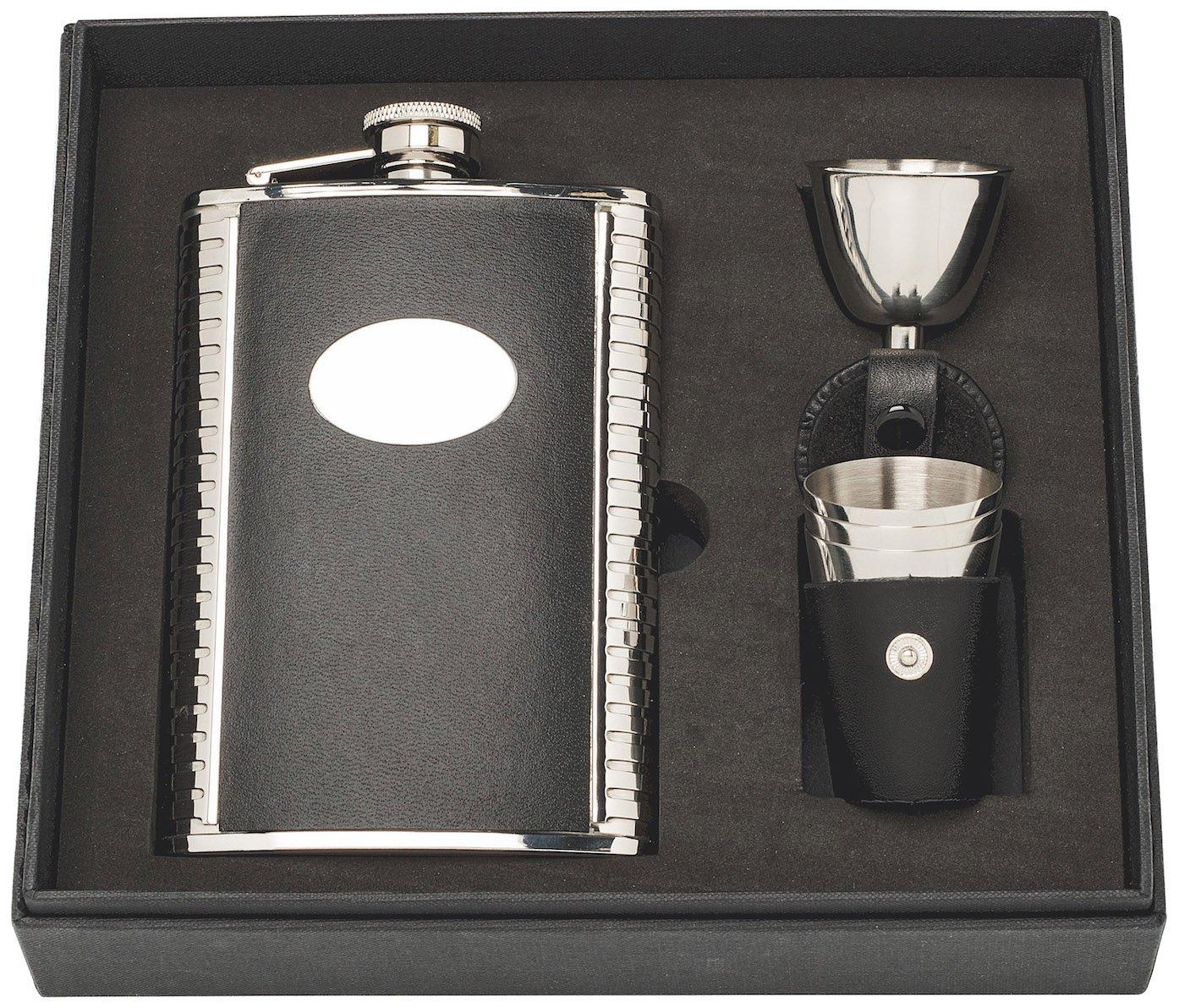 237ml Silber Herbertz Herren Taschenflasche-Geschenkset mit 3 Bechern und Einf/ülltrichter im Lederetui Flachmann