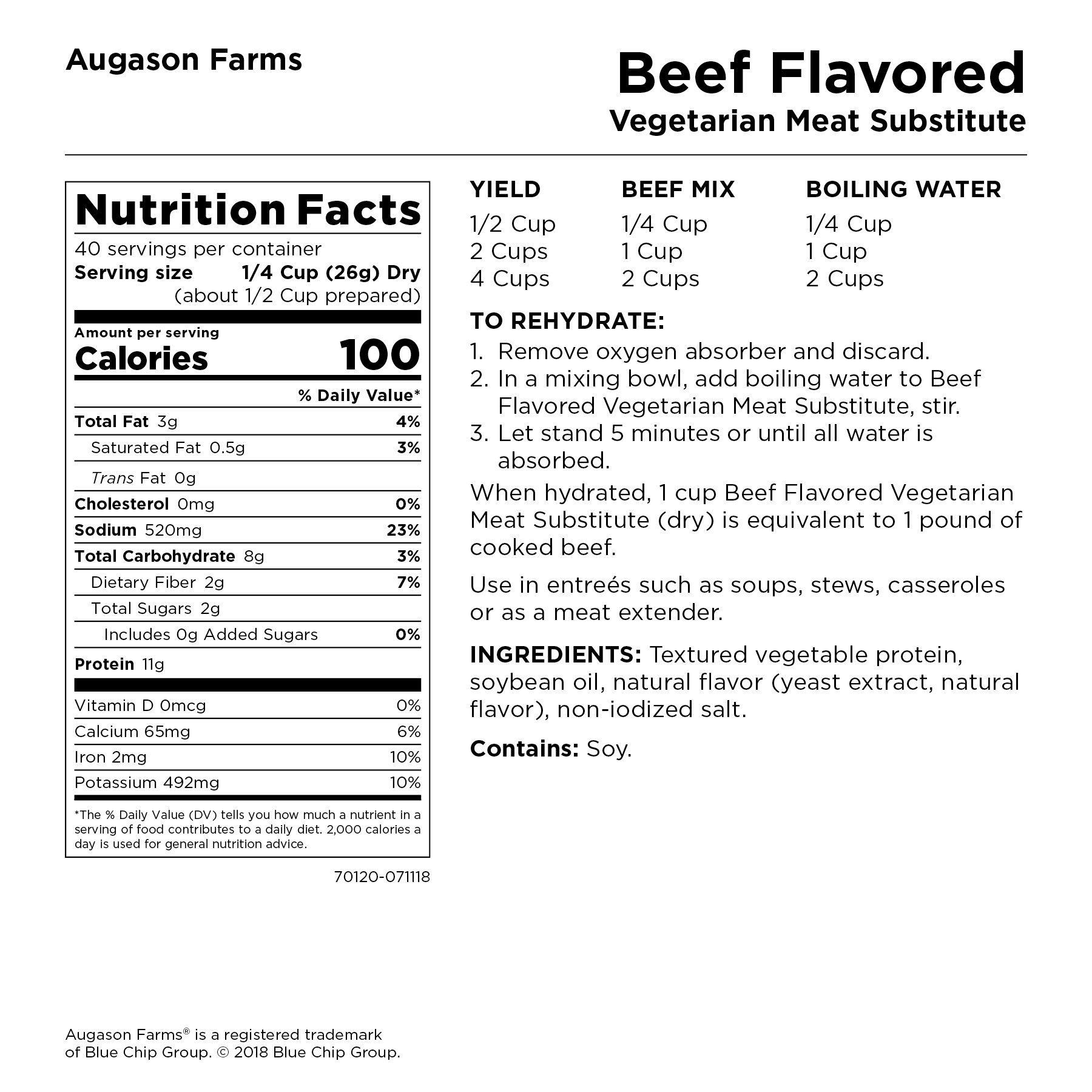 Augason Farms Beef Flavored Vegetarian Meat Substitute 2 lbs 5 oz No. 10 Can by Augason Farms (Image #3)