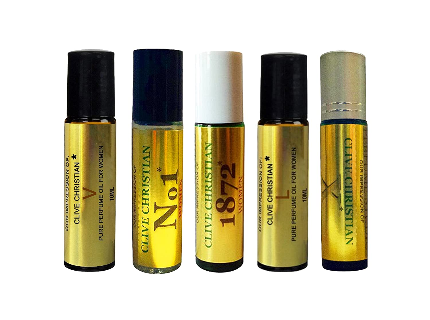 5 Piece 10ml Roll On Set of Clive-Ch IMPRESSION Perfume Oils for Women. Our VERSION of No.1, X, 1872, L, V. Premium Fragrance with SIMILAR Accords to Designer Brand, 100% Pure, No Alcohol