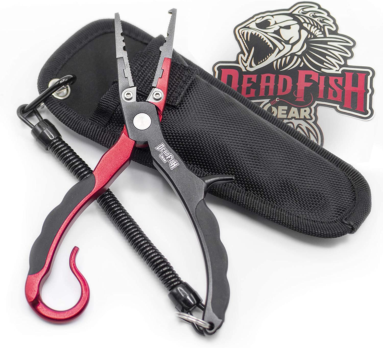 Zitrades Aluminum Fishing Pliers Hook Remover Braid Line Cutting and Split Ring with Coiled Lanyard and Sheath