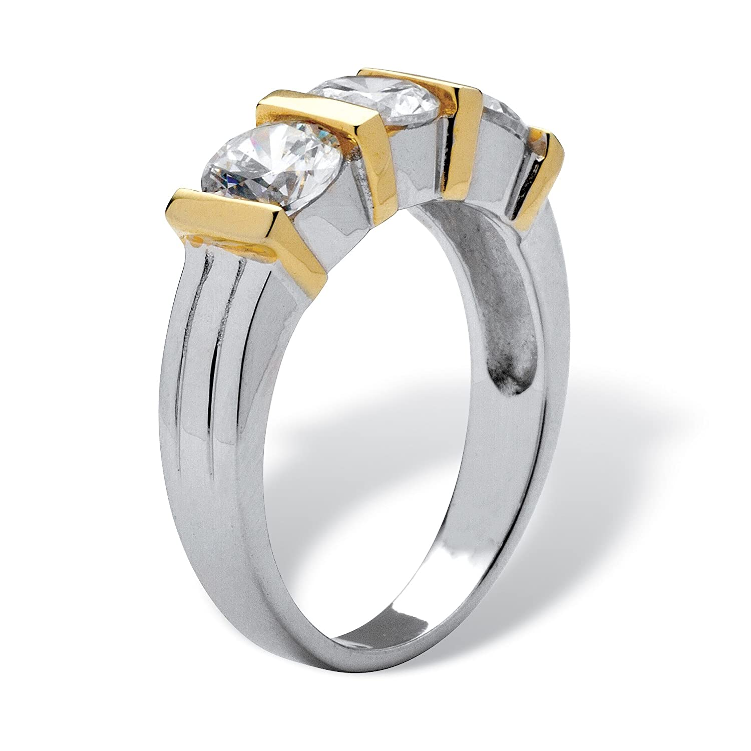 Round White Cubic Zirconia Rhodium-Plated .925 Sterling Silver and Gold Tone 3-Stone Ring