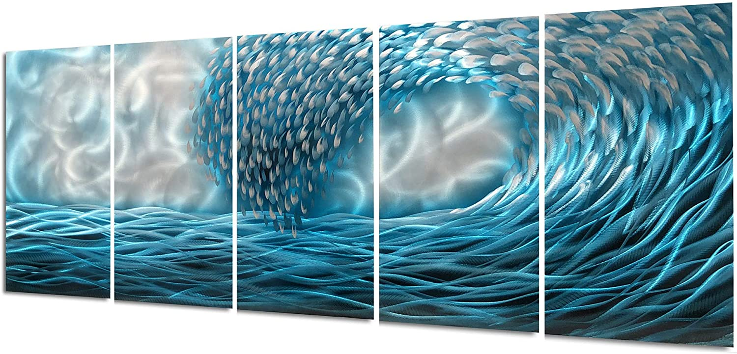 Yihui Arts Handmade Blue Seawaves Metal Wall Art Decor with Hanger (Total Size 24x64IN)