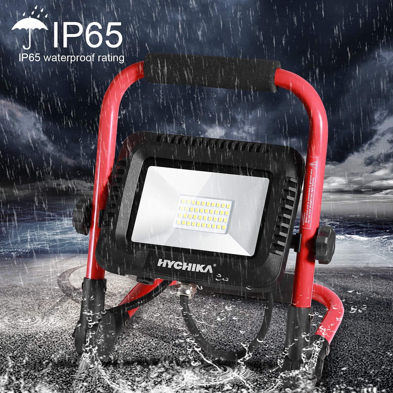 2 m Kabel mit Stecker LED Baustelle Flutlicht 360 /° Drehung HYCHIKA 30W LED Flutlicht IP65 Wasserdicht 3000 LM 6500K Superhelle leistungsstarke Arbeitsleuchte