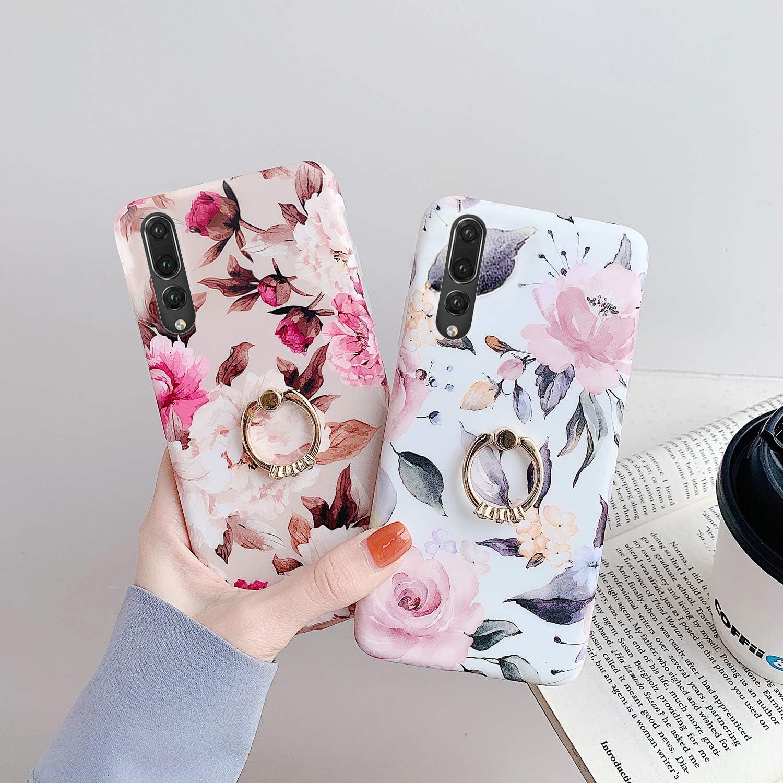 Kompatibel mit Huawei P20 Pro H/ülle,Handyh/ülle Huawei P20 Pro Case Blumen Bl/ätter Ultrad/ünn TPU Silikon H/ülle Schutzh/ülle Weiche Crystal Clear Silikon Bumper R/ückschale Case Cover,Grau