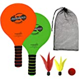 Jazzminton Lite – Indoor & Outdoor Game for Family and Friends – 2 Paddles, 2 Birdies, 1 Ball - All Season Paddle Game for Ki