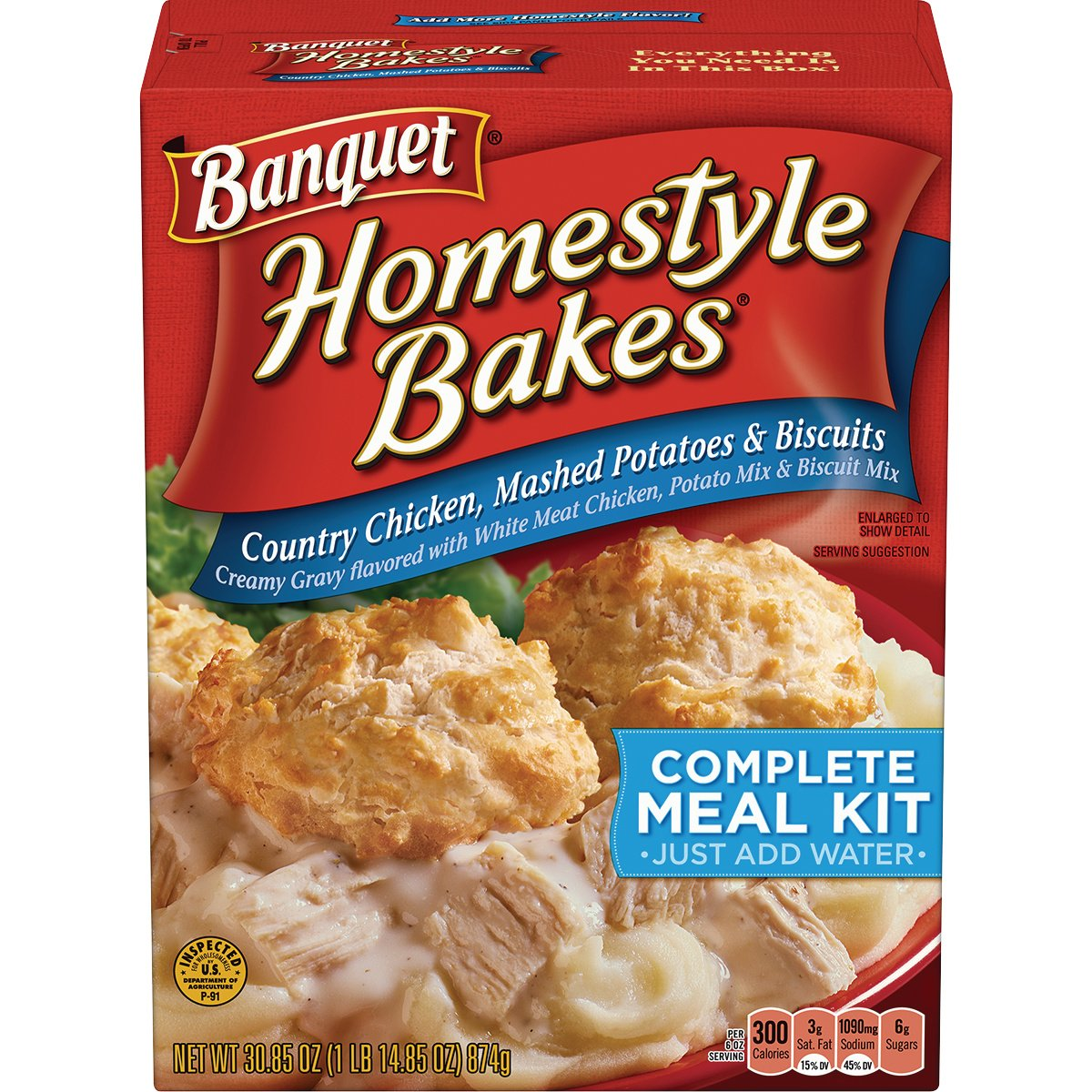BanquetHomestyle Bakes Country Chicken, 30.9-Ounce Boxes (Pack of 6)