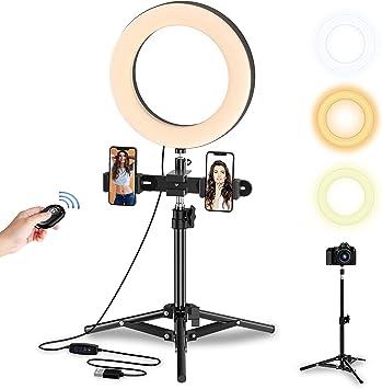 Todo para el streamer: Selvim Anillo de Luz LED Fotografía, Aro de Luz de Escritorio con Trípode Alto y Extensible, 3 Modos 10 Brillos Regulables, 104 Bombillas, Control Remoto Bluetooth, para Selfie, Maquillaje, TIK tok