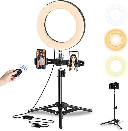 Led Selfie Ringlicht Höhestellbares Lichtstand Tisch Kamera