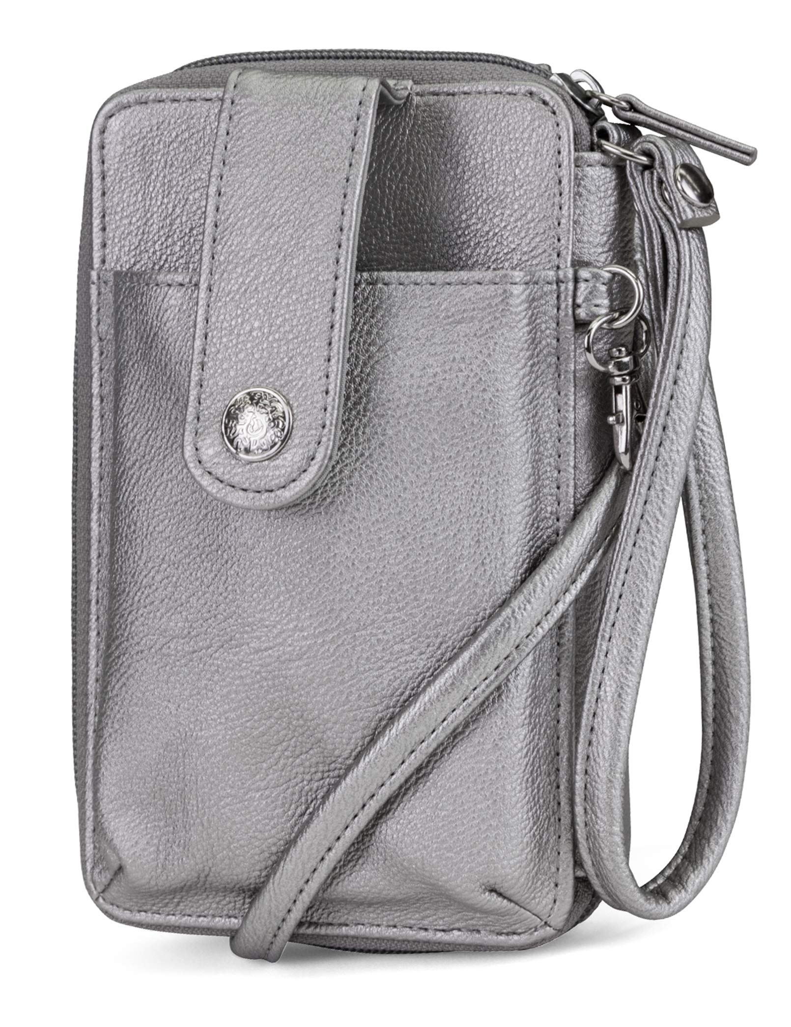 Mundi Jacqui Vegan Leather RFID Womens Crossbody Cell Phone Purse Holder Wallet ((Pewter))
