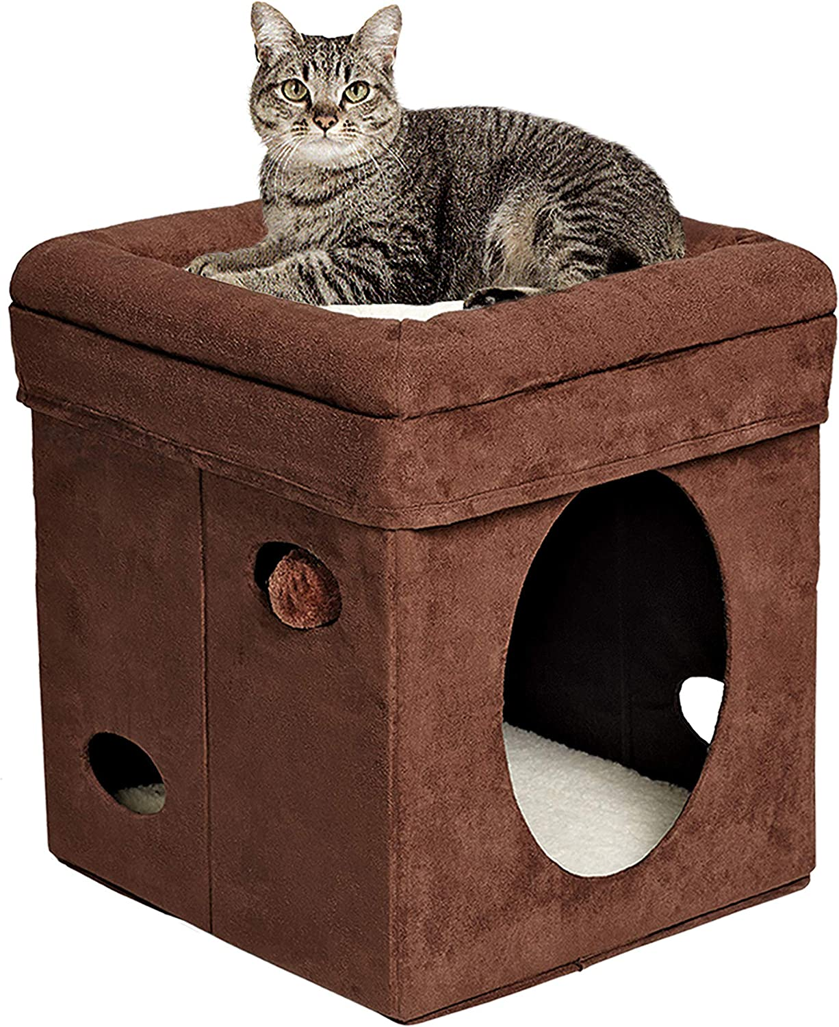 Buy Midwest Homes For Pets Faux Suede And Synthetic Sheepskin Curious Cat Cube Brown Online At Low Prices In India Amazon In