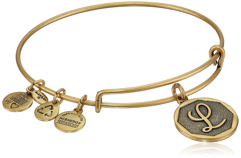 Alex and Ani Rafaelian Gold-Tone Initial L Expandable Wire Bangle Bracelet, 2.5''