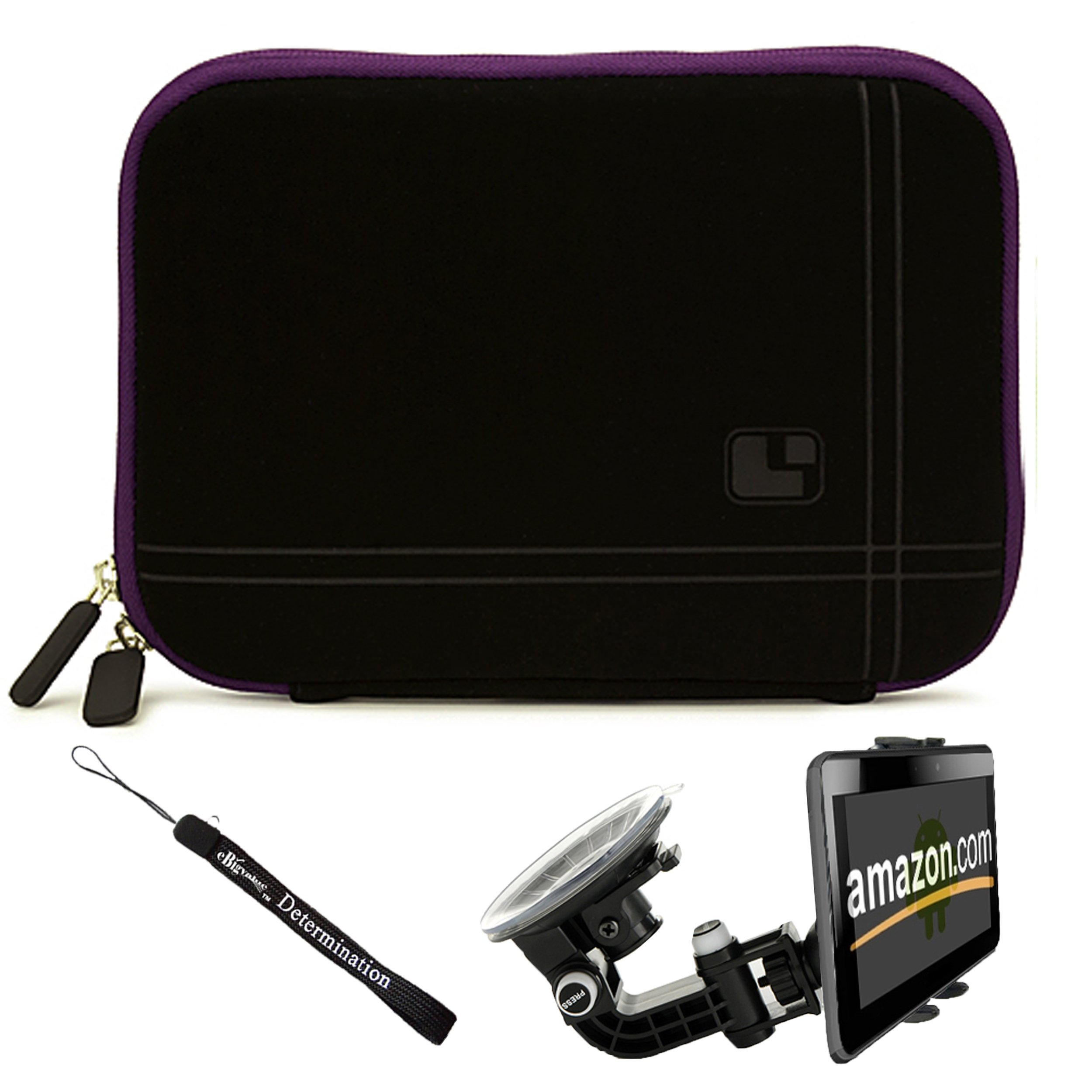 Black - Purple Trim Slim Protective Soft Neoprene Cover Carrying Case Sleeve with Extra Pocket // Fits Anywhere// For Amazon Kindle Fire Full Color 7'' Multi-touch Display, Wi-Fi (Newest Tablet) + Includes a Compatible Universal Windshield Mount for Kindle