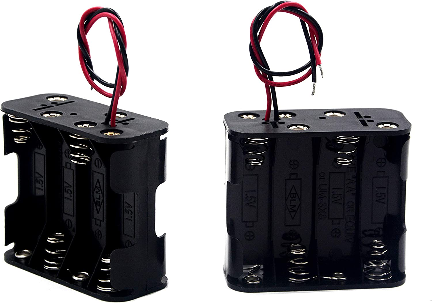 Amazon Com Lampvpath Pack Of 2 8 Aa Battery Holder 12v Aa Battery Holder 8 Aa Battery Holder With Leads Double Layers Battery Holder Each Layer Loads Four Aa Batteries Home Audio Theater