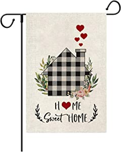 Loccie Sweet Home Garden Flag, Black White Buffalo Plaid Yard Signs,Vertical Double Sided Spring Summer Rustic Farmhouse Yard Outdoor Decoration 12 x 18 Inch