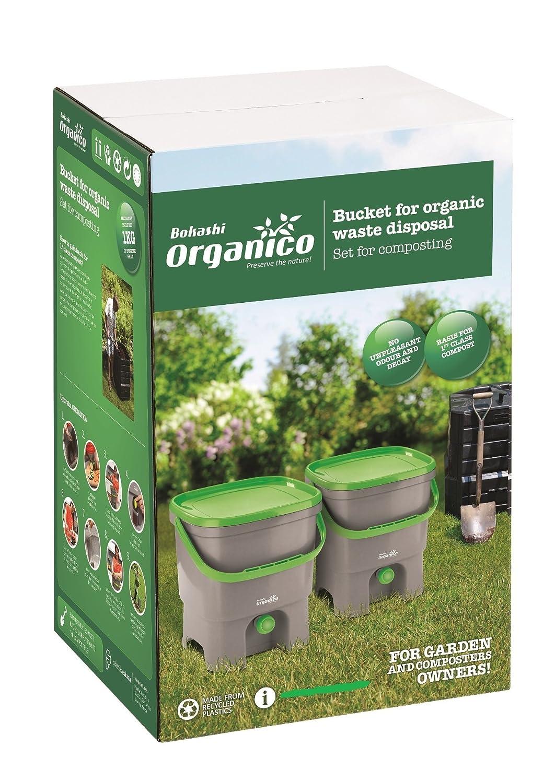 Skaza – Mente su Eco Bokashi Organico Doble Sistema 2 x 3,5 galones Cubos con Sujetador Activo y Accesorios- sostenible e Innovador contenedor de ...
