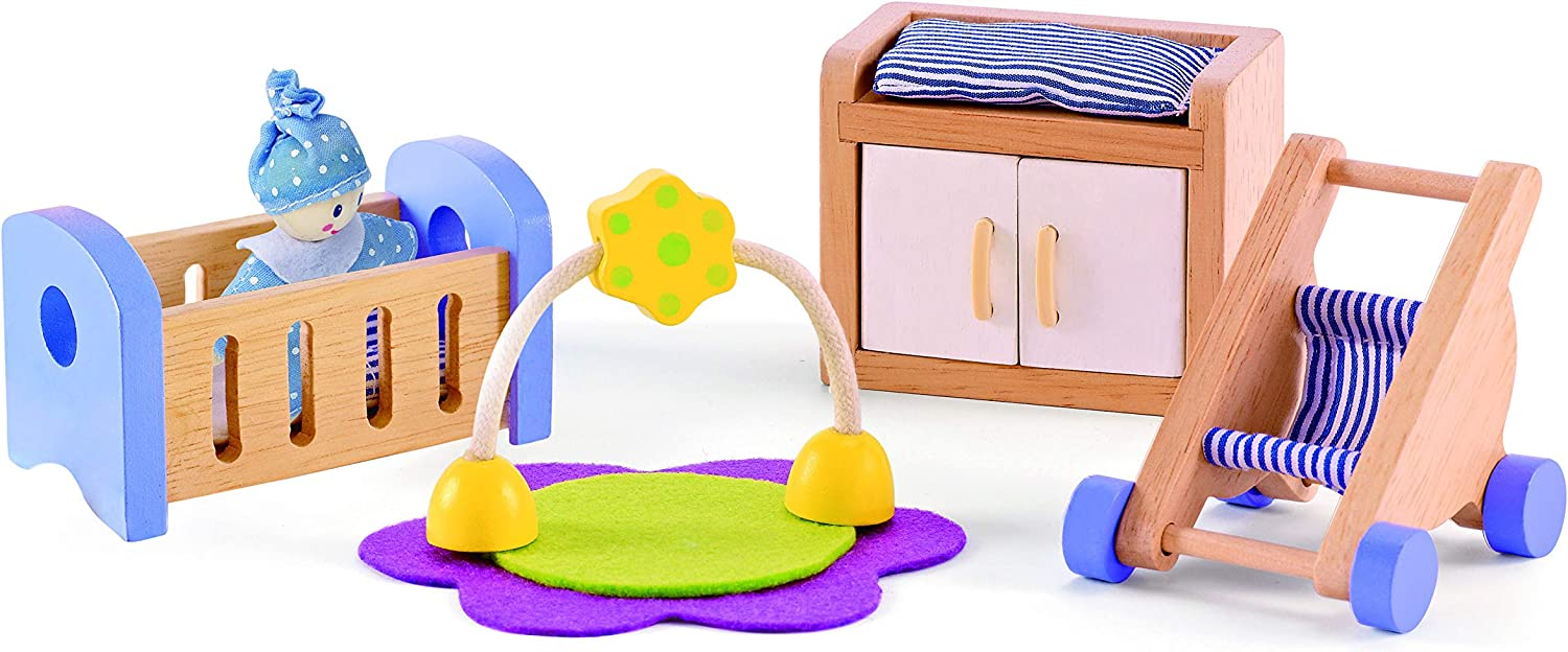 Amazon Com Hape Wooden Doll House Furniture Baby S Room Set Toys Games