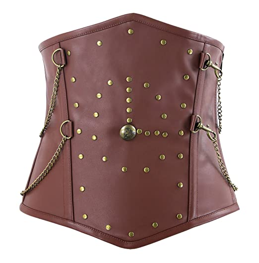 d1f2822c39d Charmian Men s Gothic Steampunk Spiral Steel Boned Faux Leather Underbust  Corset Brown Small