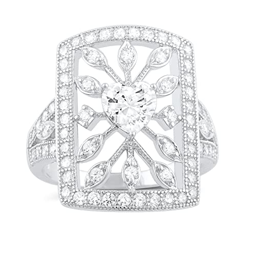 Sterling Silver Heart Cz Big Square Statement Ring Size 4-9