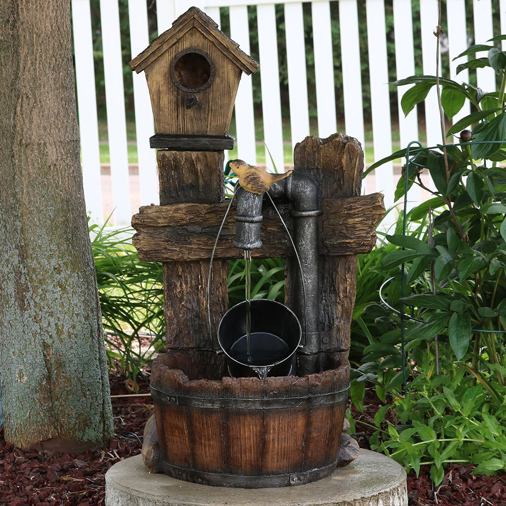 Sunnydaze Bird House Leaking Pipe Outdoor Water Fountain with LED Light, 29 Inch