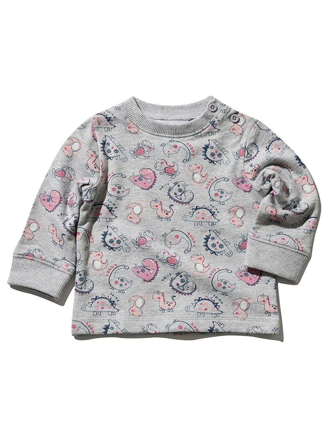 M&Co Baby Girl Cotton Long Sleeve Crew Neck Dinosaur Print Side Neck Button Sweater