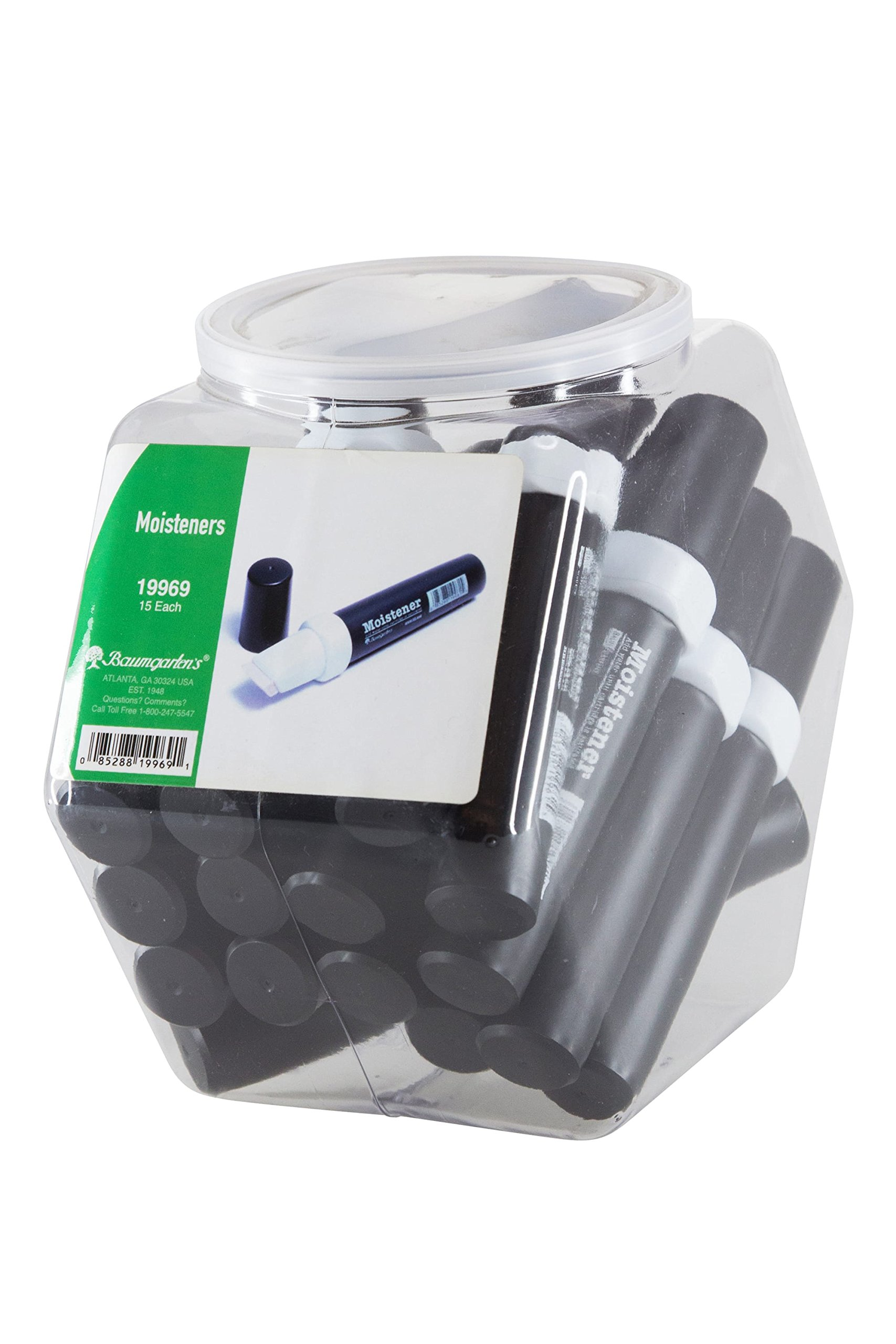 Baumgartens Finger Moistener Hexagonal Tub Display of 15 BLACK (19969)