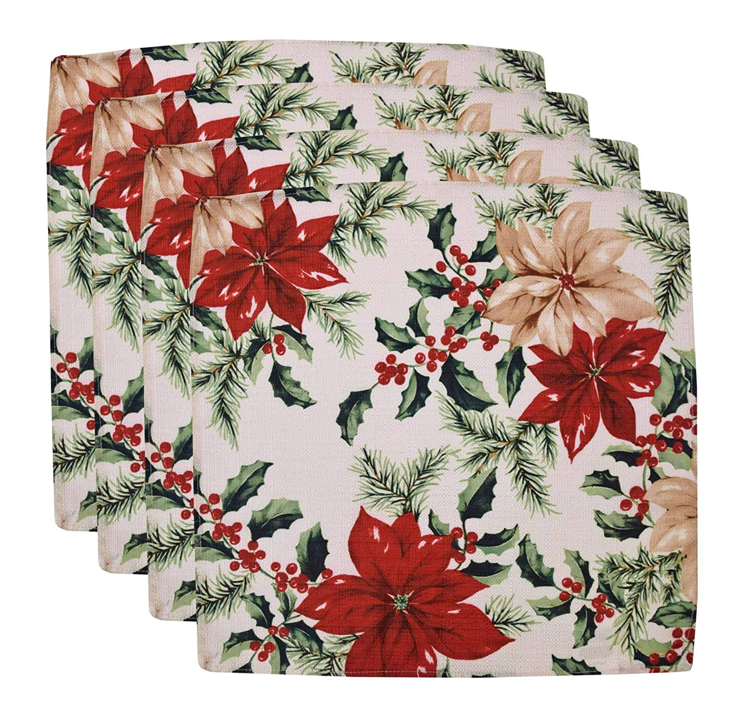 Green Holly Berry and Red Poinsettia Print Christmas Dinner Napkins - ChristmasTablescapeDecor.com