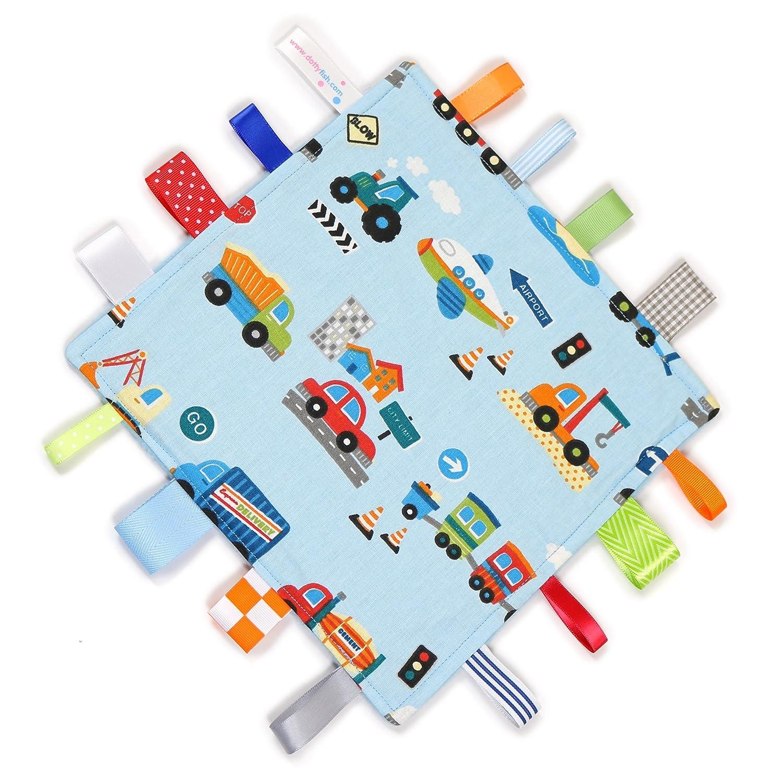 Dotty Fish Schmusetuch - Handgefertigt in England - Blaue Fahrzeuge Design - Baby Jungen