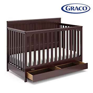 Graco Hadley 4-in-1 Convertible Crib with Drawer, Espresso, Easily Converts  to Toddler Bed Day Bed or Full Bed, Three Position Adjustable Height ...