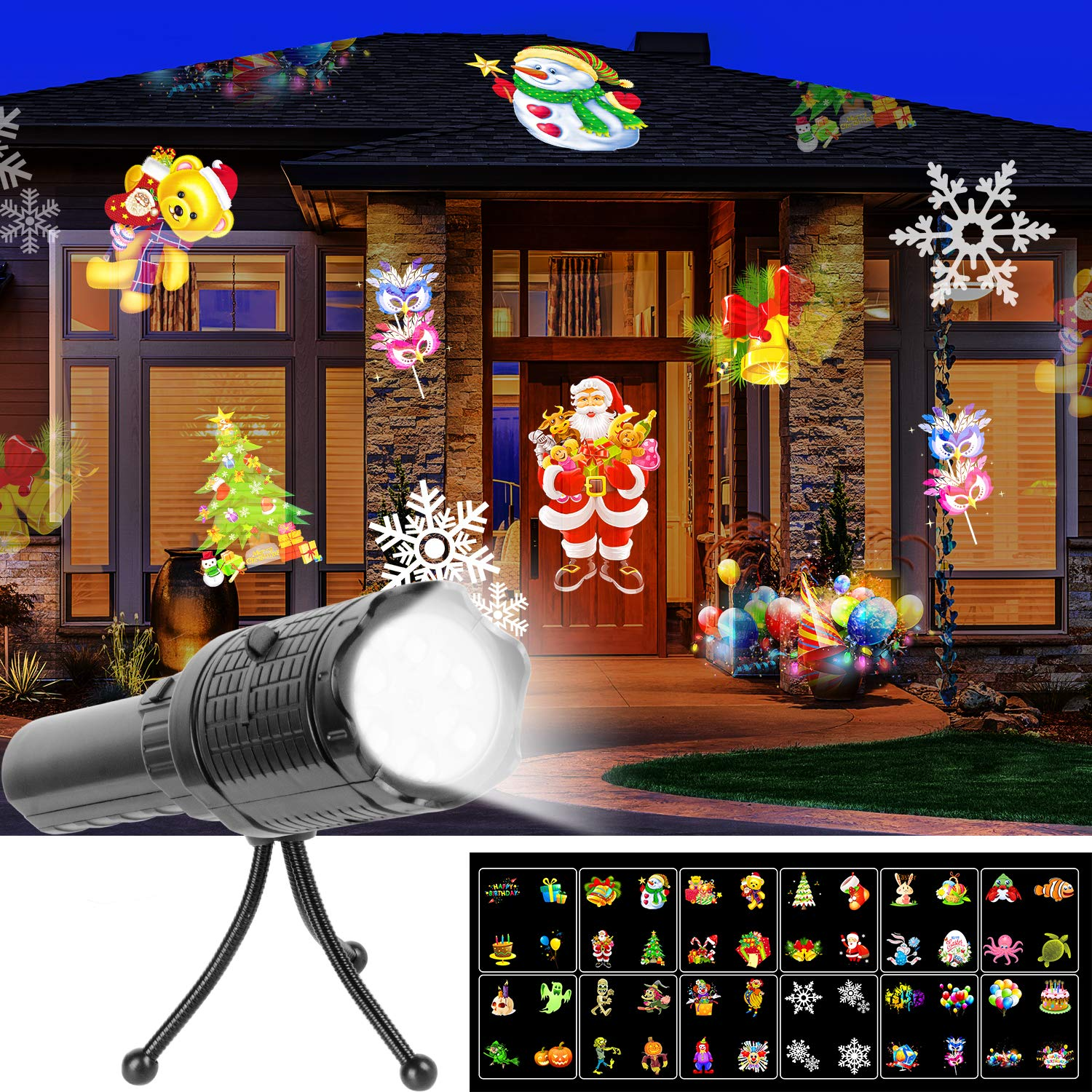 UNIFUN LED Projector Flashlight Battery Operated Christmas Portable Projector Light 12 Pattern Slides Tripod Halloween Easter Birthday Party Holiday Decoration Xmas
