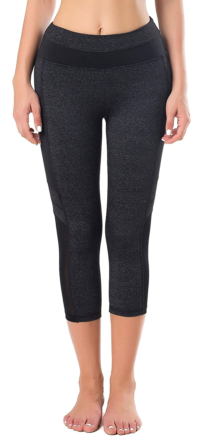 Sudawave Womens Mesh Capri Workout Yoga Running Pants Active Tights Leggings with Side Pocket