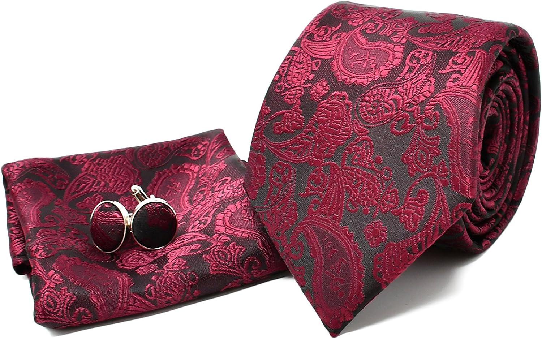 Corbata de hombre, Pañuelo de Bolsillo y Gemelos Rojo Oscuro ...
