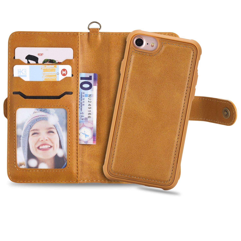 GOStyle Iphone 7 /8 /7 Plus/8 Plus財布ケースクレジットカードスロットと、取り外し可能2 in 1磁気カバー,レトロプレミアムPUレザーフリップブックケースキックスタンド付きハンドストラップスリム耐衝撃カバー iPhone 7/8 4.7 inch ブラウン iPhone 7/8 4.7 inch ブラウン B07F17BJ6X