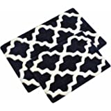navy black and white pictures for bathrooms. TreeWool  2 Piece Bathroom Rug Set with Non skid Backing Moroccan Trellis Amazon com Cotton Craft Reversible Step Out Bath Mat