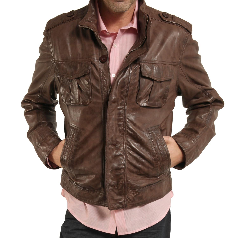 CARNET DE VOL Blouson cuir marron multipoches S: