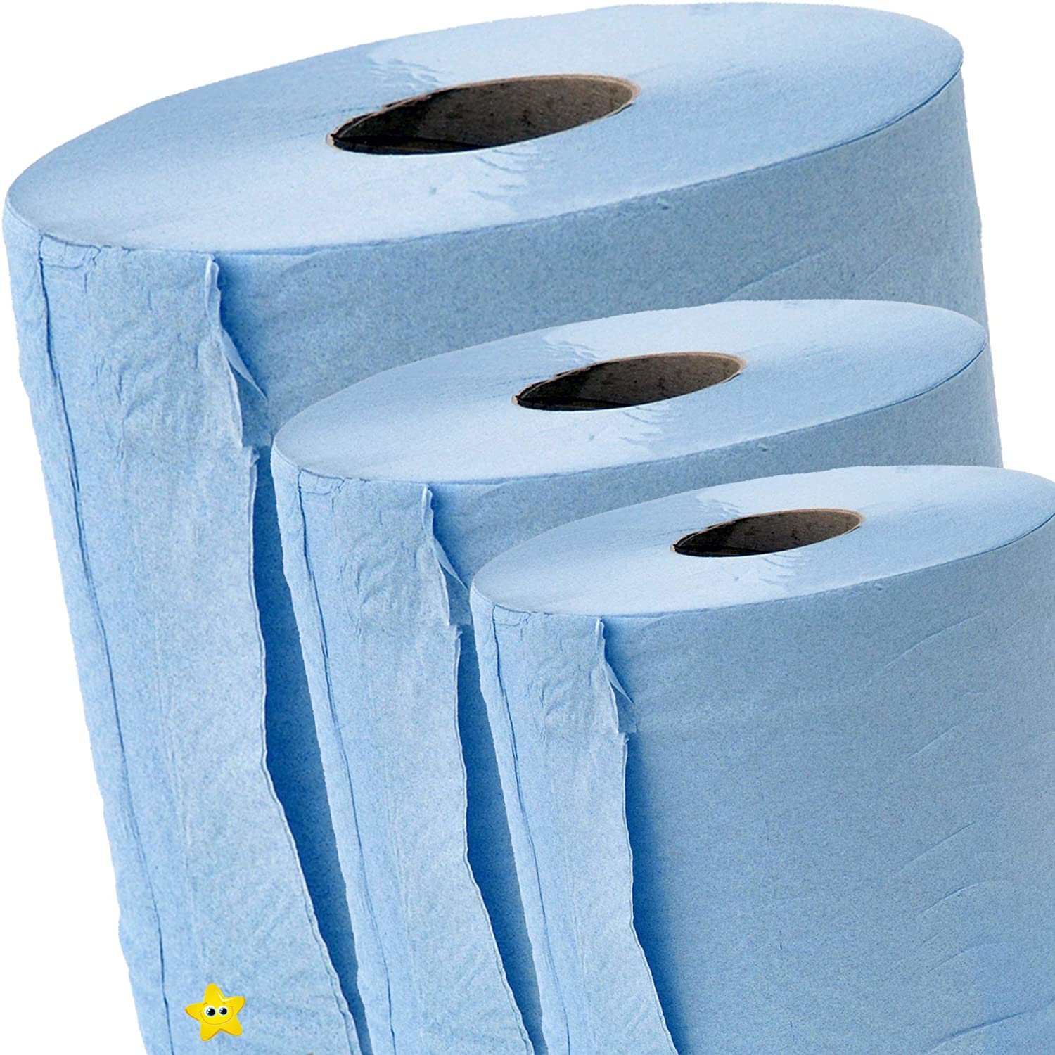 Pack of 12 Blue Centrefeed Rolls 2ply Paper Towels Embossed Wiper Cleaning Multipurpose Roll STAR SUPPLIES