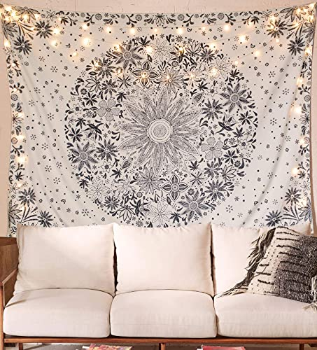 Neasow Bohemian Tapestry Wall Hanging, Beige White Floral Tapestry with Dotted Daisy Medallion Print Bedroom Boho Hippie Home Decor, 70 90 inches