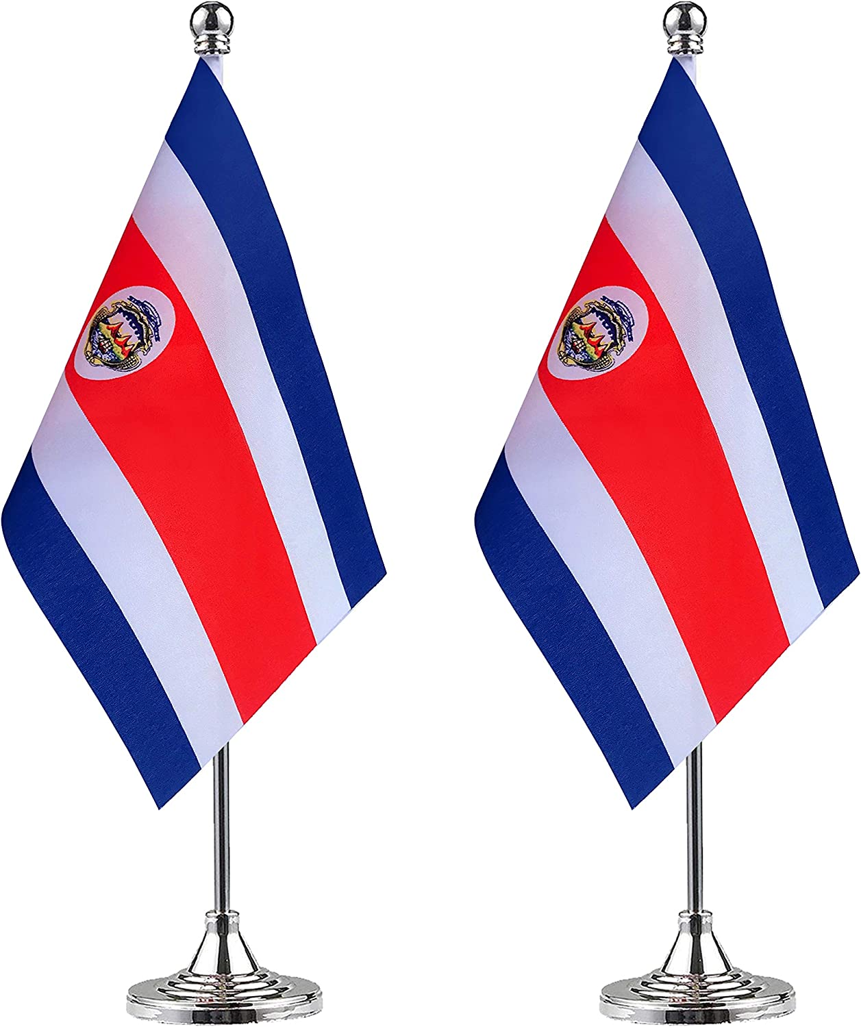 WEITBF Costa Rica Desk Flag Small Mini Costa Rican Office Table Flag with Stand Base,Costa Rican Themed Party Decorations Celebration Event,2 Pack