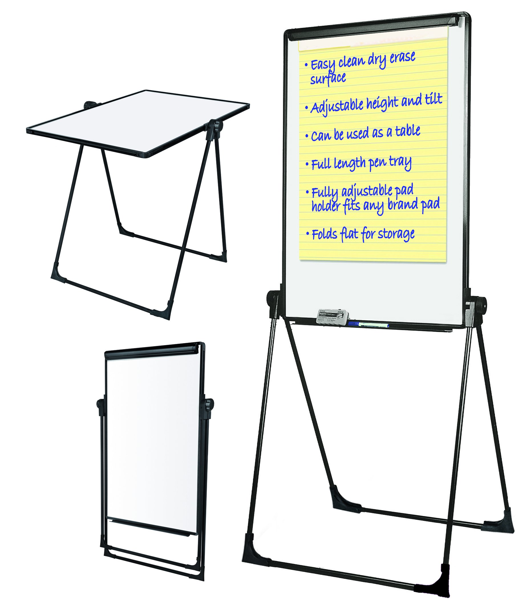 MasterVision Presentation Easel, Footbar Folds-to-a-Table Dry Erase, 29'' x 41'' Black