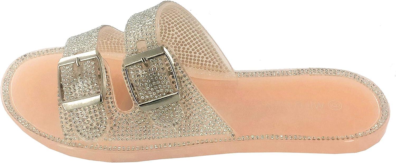 Wild Diva Womens Jelly flip Flop Rhinestone Slippers Sandals