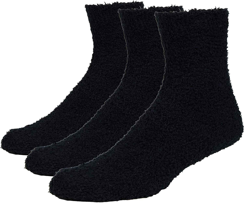 Fitu Men's Soft Warm Cozy Fuzzy Socks Plush Fleece Fluffy Socks 3-pack With Gift Box