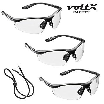 3 x voltX 'CONSTRUCTOR' BIFOKALE Schutzbrille mit Lesehilfe CE EN166F zertifiziert/Sportbrille für Radler (KLAR +1.0 Dioptrie) enthält Sicherheitsband 8k3yyudJR