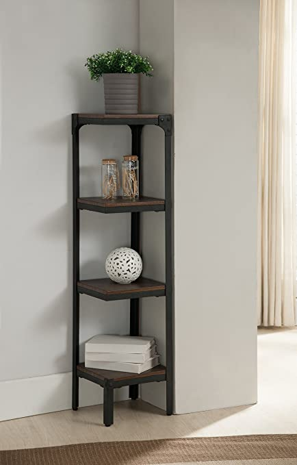 Kings Brand Furniture 4 Tier Antique Finish Corner Bookshelf Bookcase