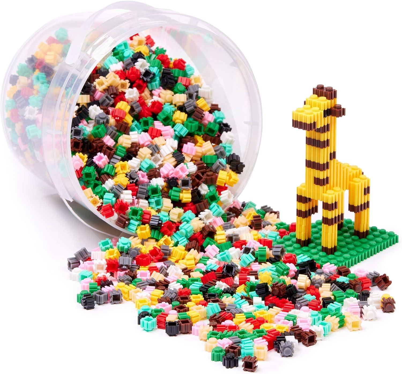 Fun Toys /& Gifts for Girls /& Boys OmBlocks Small Building Blocks storage bucket Make Mini Brick Houses Construction Kit for Creative Play Animal /& People Figures