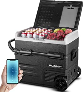 BODEGA 12 Volt Refrigerator Portable Freezer Car Fridge Dual Zone 59 Quart(55L)-4℉-68℉ RV Electric Compressor Cooler 12/24V DC and 100-240V AC for Outdoor, Vehicles, Camping, Travel