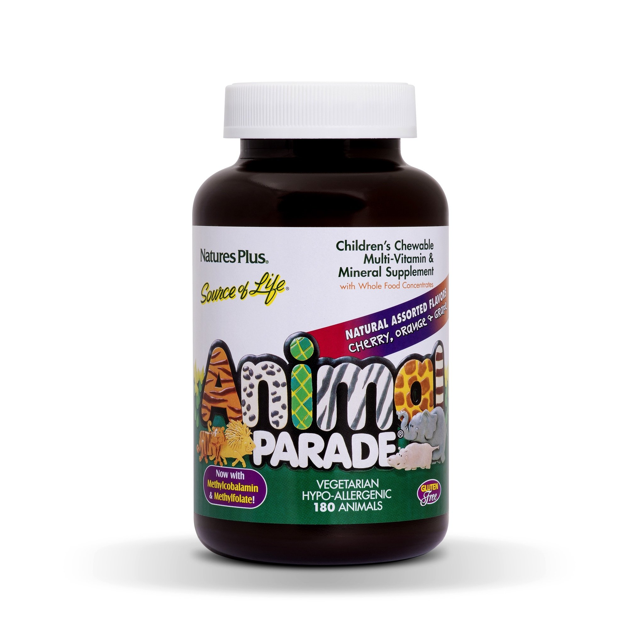 NaturesPlus Animal Parade Source of Life Children's Chewable Multivitamin - 180 Animal Shaped Tablets - Natural Assorted Flavors - Vegetarian, Gluten-Free - 90 Total Servings
