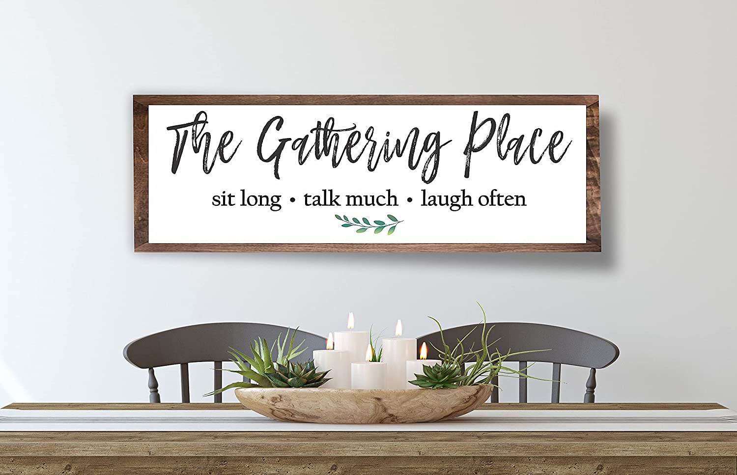 Sign for Dining Room Gather Sign Large Farmhouse Kitchen Wall Sign Rustic Wall Art Decor Home Decor Dining room decor
