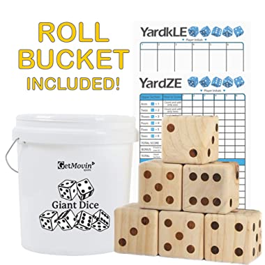 GetMovin' Sports Giant Wooden Playing Dice Set with Roll Bucket and Scorecard, Outdoor Lawn Yard Game - Includes 6 Dice, Dry Erase Scorecard W/Marker, Roll Bucket, Carrying Bag (3.5  Dice)