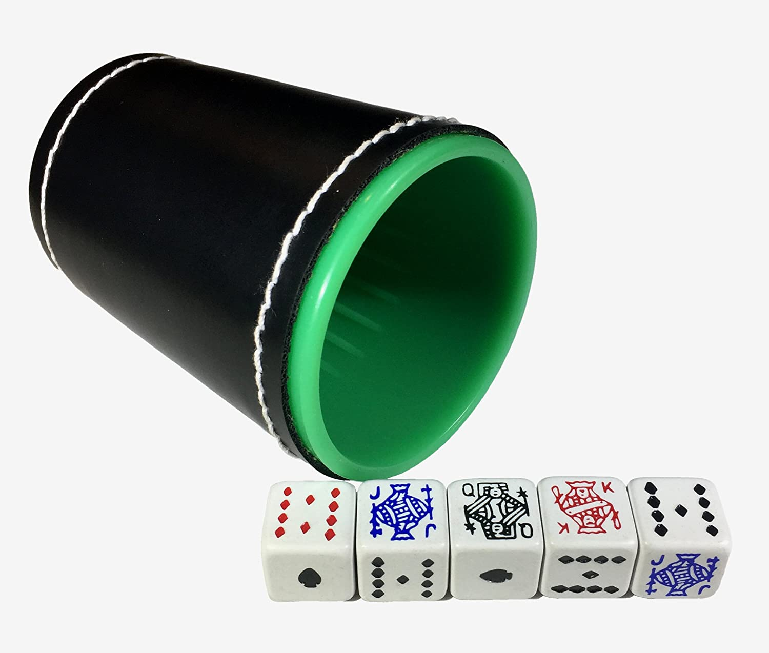 American Poker Dice Cup Plastic Cubilete with Spanish Naipes and Poker Cardboard Party Playing Cards Deck Casino Game Bundle